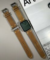 Brown Tan Genuine Leather Strap For Apple Watch 42mm/44mm Series 1,2,3,4,5,6,SE