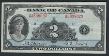 1935 CANADA 2 DOLLARS BANK NOTE OSBOURNE / TOWERS