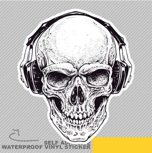 Skull With Headphones Scary Dangero Vinyl Sticker Decal Window Car Van Bike 2099