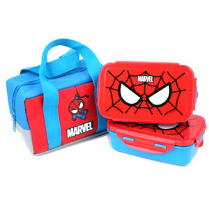 Marvel Spider Man 2 Layers Bento Lunch Box Food Container With Insulated Bag