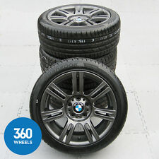 "GENUINE BMW 3 SERIES 17"" 194 M SPORT FERRIC GREY DOUBLE SPOKE ALLOY WHEELS TYRES"