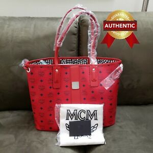 NEW Authentic MCM Medium Reversible Liz Shopper tote bag Candy Red