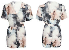 Womens Sexy Holiday Water Colour Floral Wrapover Playsuit V Neck Jumpsuit Top