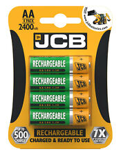 JCB AA Rechargeable 2400mAh Pre-Charged Batteries LR6 1.2V Pack Of 4
