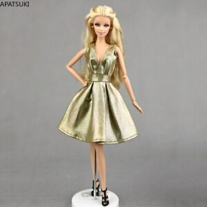 """Golden Leather Doll Dress For 11.5"""" Doll Clothes Outfits Accessories 1/6 Kid Toy"""