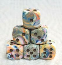 Dice - Chessex (6) 12mm Festive Vibrant w/Brown - Smaller Size Swirl of Colors!