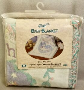 """BEACON """"BLESS THIS CHILD"""" JACQUARD BABY BLANKET - BRAND NEW"""