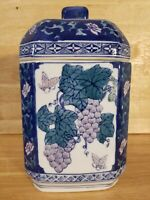Vintage Signed Chinese Porcelain Tea Caddy Jar Blue & White With Grapes And...