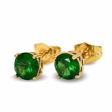 Simulated Green Emerald 7mm 18ct Gold Filled Stud Earrings Womens 18K