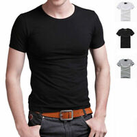 Men's Crew Neck Short Sleeve T-Shirt Slim Fit  Solid Color Basic Tee Shirt