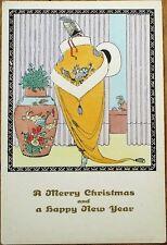 Mela Koehler/Artist-Signed 1920 Art Deco Postcard: Woman & Chinese Vase-New Year