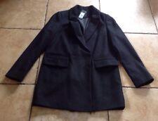 NEW Look spazzolato Cappotto Nero Nuovo con Etichetta UK14 RRP £ 44.99