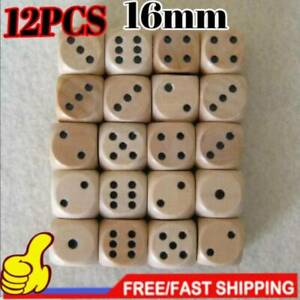 12pcs 16mm Wooden Wood Dice Game Natural Single Dice Board game Bar Party