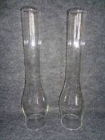 """NOS Pair of Clear 14"""" Tall Glass Oil Hurricane Chimney Globe 2 7/8"""" Fitter"""