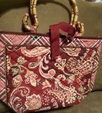 vera bradley quilted purse bamboo handles pink/plum/plaid/paisley