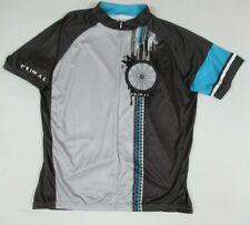 Primal Zip Up 3 Back Pocket Tire Tread Gray Black Large Mens Cycling Shirt A1931