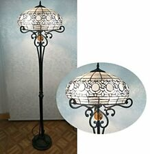 Antique Tiffany Style Floor Lamp 16inch Stained Glass 2 lights Handcrafted Light