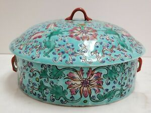 Vintage Chinese Lidded Dish Blue with Floral Design