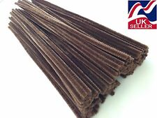 """10 - 1000 x BROWN chenille craft stems pipe cleaners 30cm (12"""") long, 6mm wide"""