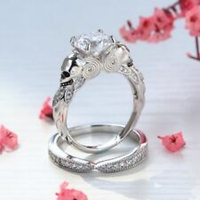 Bridal Set in 14K White Gold 2.70Ct Round Diamond Skull Engagement Wedding Ring
