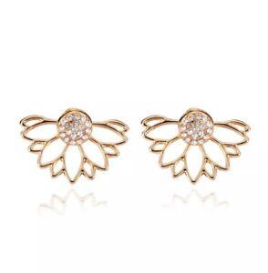 Gold Double-sided Mesh Jewellery Diamond studded Crystal Ear Jacket Earrings