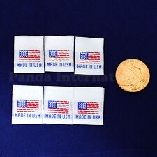 "1000 pcs WOVEN SEWING LABELS FLAG ""MADE IN USA"" in White, Fast Shipping from USA"