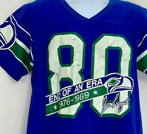Vtg Seattle Seahawks Mens Jersey Shirt 80 Steve Largent End of Era 1976-1989 L