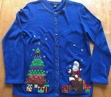 Designer Originals Studio Christmas Cardigan/Sweater Women's size L Stitched