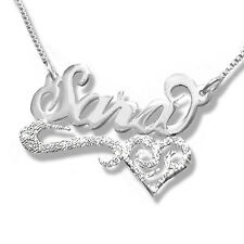 Personalized Any Name Necklace STERLING SILVER Sparkling heart Name Necklace