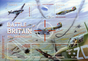 Grenada Stamps 2000 MNH WWII WW2 Battle of Britain Hawker Hurricane 6v M/S I