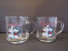 MARSHALL FIELD'S~Santabear 2000~MR & MRS SANTABEAR~(2) Glass Coffee Cocoa MUGS