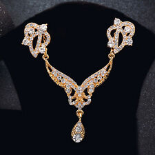Elegant Woman Gold Plated Wedding Jewelery Set Water Drop CZ Necklace Earrings