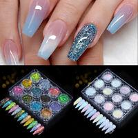 6/12 Boxes Holographics Nail Powder Sequins Glitter Nail Flakes Pigment Decors