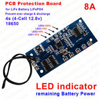 LiFe Battery 4S 12.8V LiFePO4 8A PCM Protection Board BMS with Capacity Display