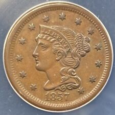 1857 Liberty Head/Braided Hair Large Cent, Small Date, AU-58