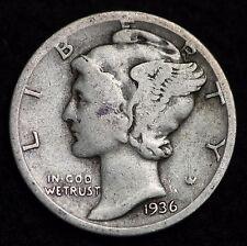 1936-S MERCURY DIME / CIRCULATED GRADE GOOD / VERY GOOD 90% SILVER COIN