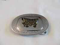 Covered Wagon Silvertone Western Novelty Brass Belt Buckle