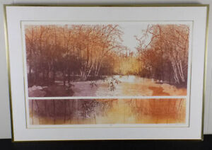 Russa Graeme etching 'Riverbed' landscape framed signed & numbered print