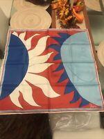 "Rare Vintage 26"" Square Vera Neumann 70s Red White Blue Sun Moon Silk Scarf HTF"