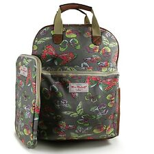 Girls Backpack With Ipad Case Grey Butterfly  Canvas Rucksack School Bag