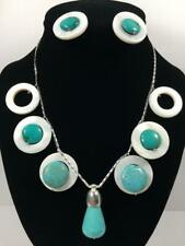 Handmade Turquoise-Mother Pearl 925 Sterling Silver Necklace With Earrings B8