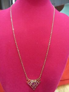 """14 K Solid Yellow gold chain necklace & Ruby Pendant 15"""" 4.1 gr"""