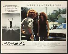 Eric Stoltz as Rocky Dennis and Cher talking in Mask 1985 UK. lobby card 1856