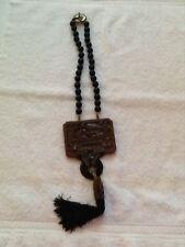 "Heidi Daus 18"" Genuine Onyx Tassel Style Statement Necklace w/Fish Motif"