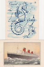 """Queen Mary 1954 Post Card/Schedule-And """"Race Card""""Booklet"""