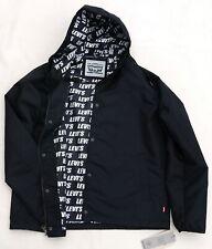 LEVIS Hooded Coaches Jacket Black Rain Coat Water Resistant Street Style Men L
