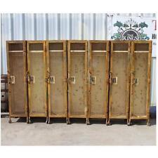 Set of 7 Industrial Factory Iron Mesh Gym Lockers Metal Cast Iron Wheels Vintage