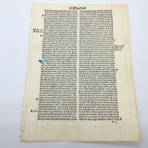 RARE 1487 Incunable Early Bible Leaf From Ezekiel - Manuscript Codex Paper Latin