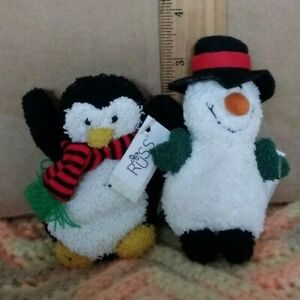 "Rare two Russ Berrie 4"" Snowman & 3"" penguin plush toys (LOT)"