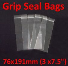 Polythene Bags (76mm x 191mm) high quality - 200 gauge - grip self resealable